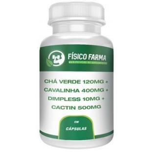 Chá Verde 120mg + Cavalinha 400mg + Dimpless 10mg + Cactin 500mg 30 doses