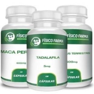 Kit Potência Sexual: Tadalafila 5mg 60 cápsulas + Tribullus Terrestris 500mg 60 cápsulas + Maca Peruana500mg 120 cápsulas