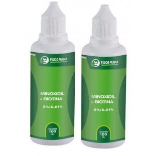 Minoxidil 5% + Biotina 100ml - Kit com 2 Unidades