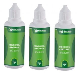 Minoxidil 5% + Biotina 100ml-Kit com 3 Unidades