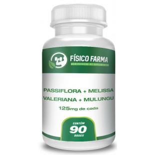 Passiflora 125mg + Melissa125mg + Valeriana125mg + Mulungu125mg 90 Doses